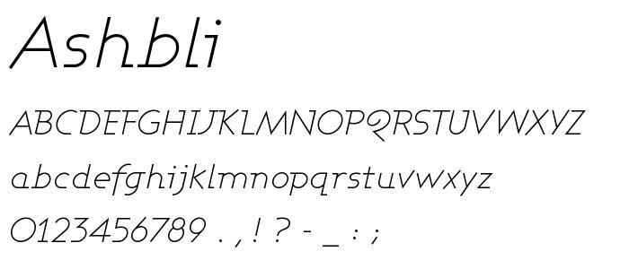 Ashbli font