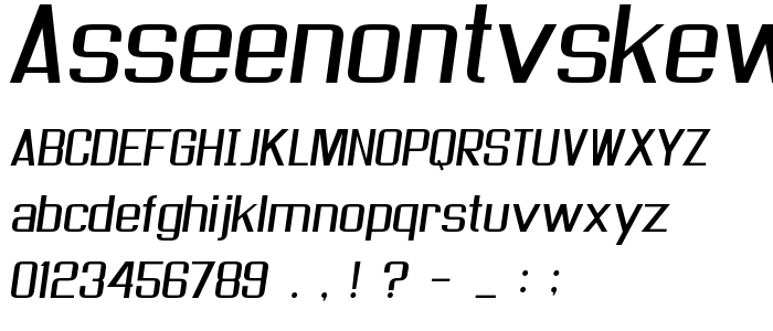Asseenontvskew font