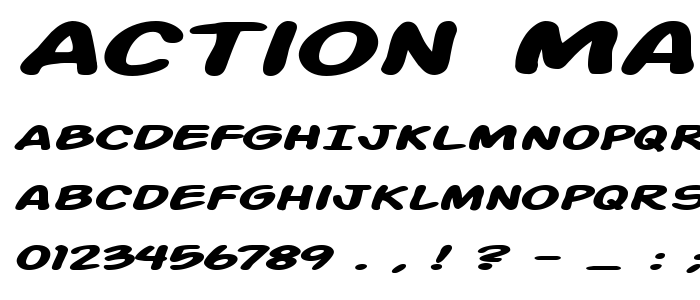 Action Man Extended Bold Italic font