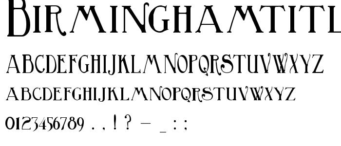 Birminghamtitling font