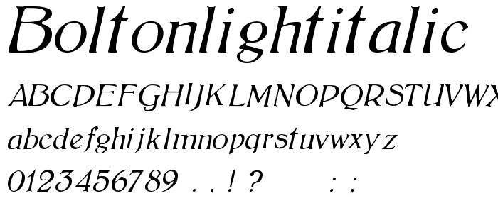Boltonlightitalic font