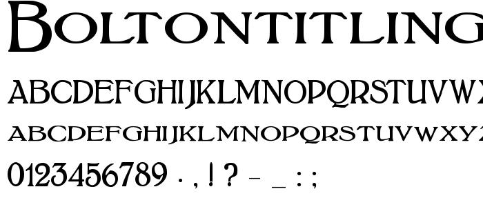 Boltontitling font