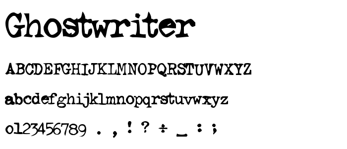 Ghostwriter font