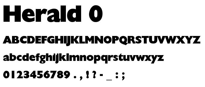 Herald 0 font