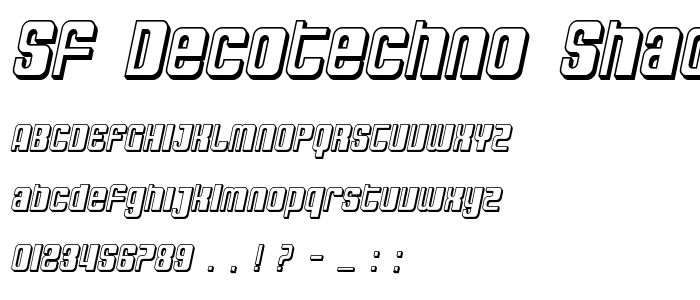 Sf Decotechno Shaded Oblique font