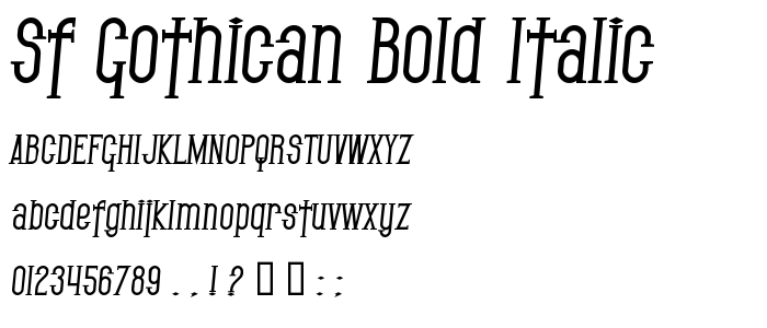 Sf Gothican Bold Italic font