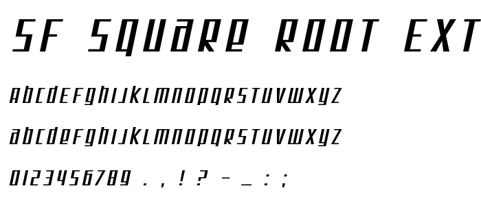 Sf Square Root Extended Oblique font
