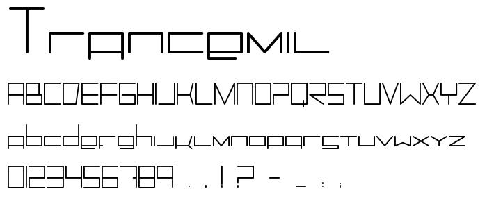 Trancemil font