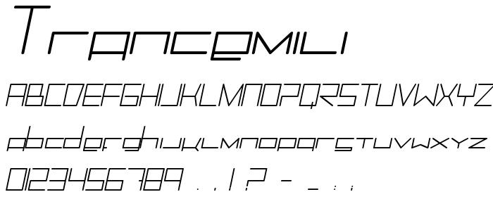Trancemili font