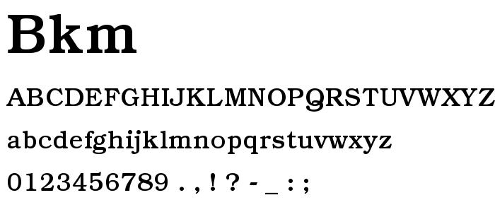 Bkm font