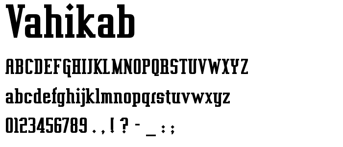 Vahikab font